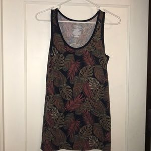 Time and Tru Navy Tank olive coral palm leaves XL